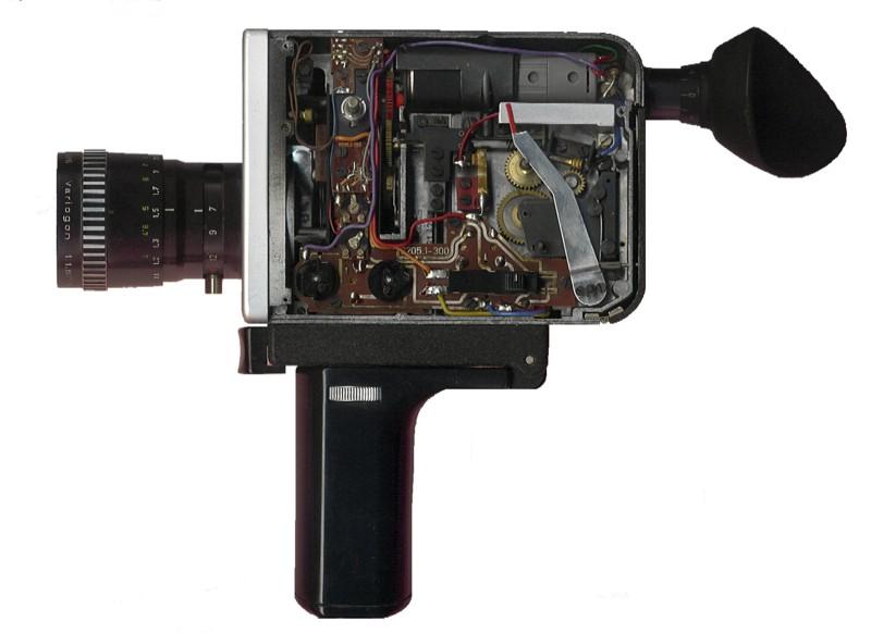 Inside a super 8 camera